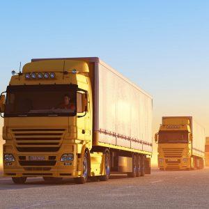 Convoy of trucks on road at sunrise